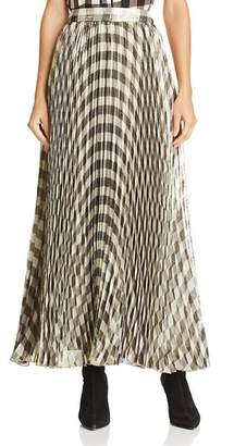 Alice + Olivia Katz Metallic Gingham Pleated Maxi Skirt