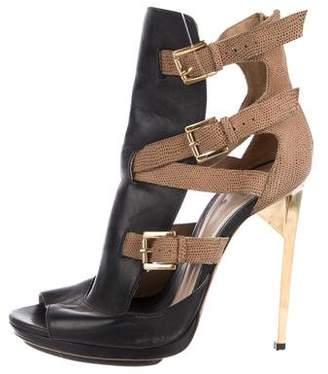 Herve Leger Leather Round-Toe Platform Sandals