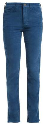 MiH Jeans Daily Straight Leg Velvet Trousers - Womens - Dark Blue