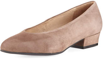 Sesto Meucci Suede Low-Heel Slip-On Pump, Taupe