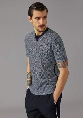Giorgio Armani T-Shirt In Chevron Pattern Jersey With Giorgio Print