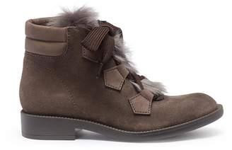 Pedro Garcia 'Kani' lamb fur suede combat boots