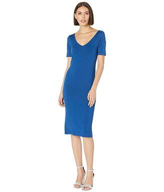 Three Dots Refined Jersey Open V-Neck Sheath Dress