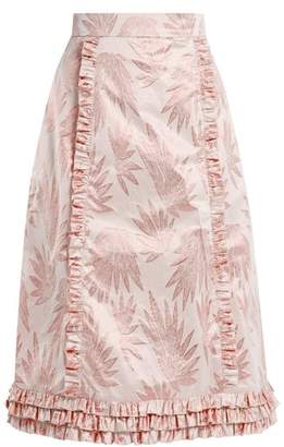 The Vampire's Wife - Cate Leaf Jacquard Ruffle Trimmed Skirt - Womens - Pink Print