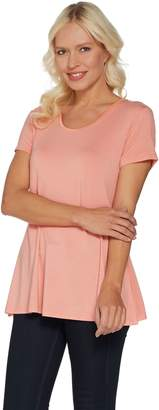 Halston H By H by Essentials Short Sleeve U-Neck Tunic with Side Slits