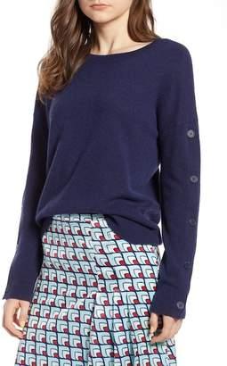 Halogen Cashmere Button Sleeve Sweater (Regular & Petite)