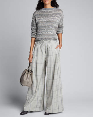 Lafayette 148 New York Striped Embellished Hand Knit Cashmere Sweater