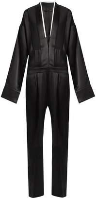 HAIDER ACKERMANN Glyzine contrast-trim satin jumpsuit $1,976 thestylecure.com