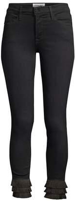 Frame Le High Fringe Crop Skinny Jeans