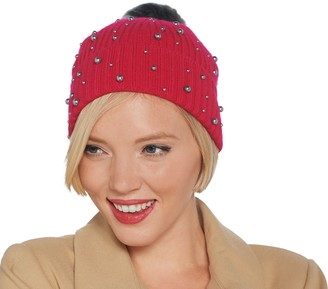 Isaac Mizrahi Live! 2-Ply Cashmere Hat w/ Faux Pearls and Faux Fur Pompom