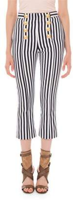 Balmain Striped Crop-Flare 8-Button Pants