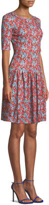 Escada Elbow-Sleeve Fit-and-Flare Floral-Print Jersey Dress
