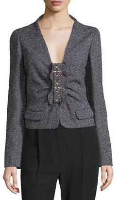 Valentino Long-Sleeve Embellished-Front Jacket, Purple/Multi $5,780 thestylecure.com