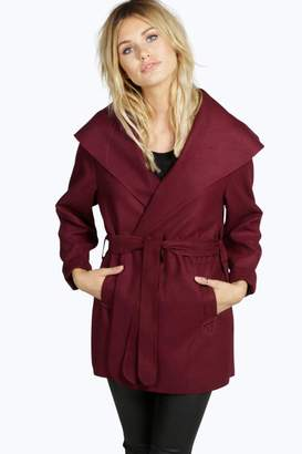 boohoo Short Belted Waterfall Coat