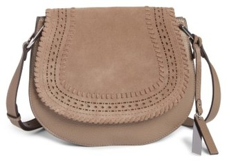 Vince Camuto Kirie Suede & Leather Crossbody Saddle Bag - Grey $248 thestylecure.com
