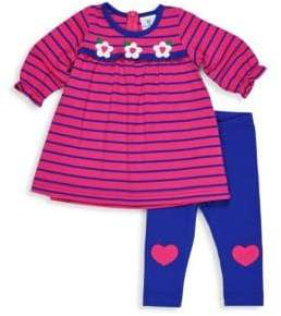 Florence Eiseman Baby Girl's Two-Piece Stripe Tee and Heart Legging Set