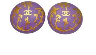 Chanel CC Logo Gold Tone Metal Purple Pottery Round Earrings