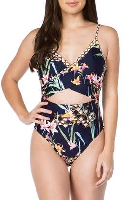 Trina Turk Fiji Floral Over the Shoulder One-Piece Swimsuit