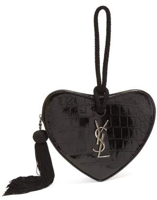 Saint Laurent Love Heart Crocodile Effect Leather Clutch - Womens - Black