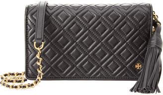 Tory Burch Fleming Flat Leather Wallet Crossbody
