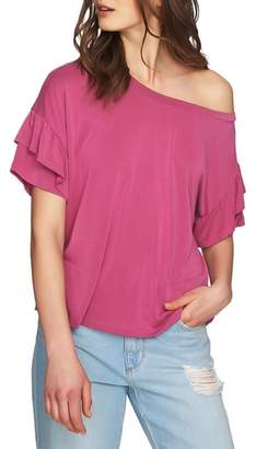 1 STATE 1.STATE Ruffle Sleeve One-Shoulder Tee
