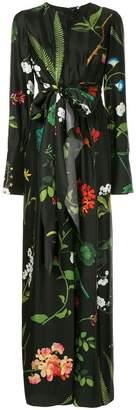 Oscar de la Renta belted floral print gown