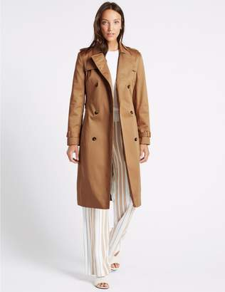 Marks and Spencer Pure Cotton Longline Trench with Stormwear