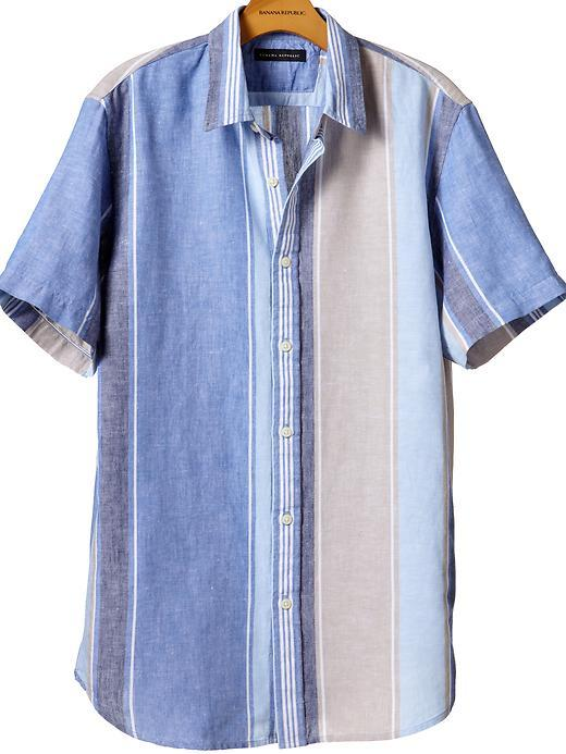 Linen-cotton wide-stripe shirt