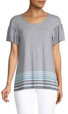 Max Studio Striped Ruffle Top