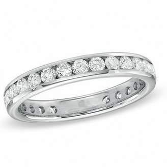 Zales 1 CT. T.W. Channel-Set Diamond Eternity Wedding Band in 18K White Gold (G/SI2)