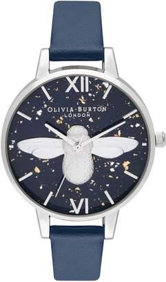 Olivia Burton Celestial Bee Leather Strap Watch, 34mm
