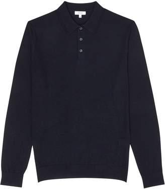 Reiss Trafford - Merino Wool Polo Shirt in Navy