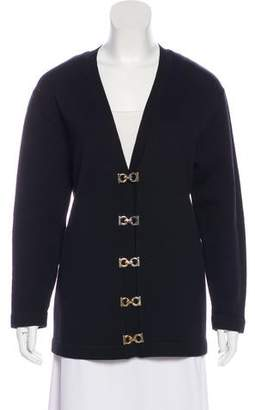 Salvatore Ferragamo Virgin Wool Long Sleeve Cardigan