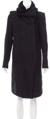 Helmut Lang Fur-Trimmed Knee-Length Coat