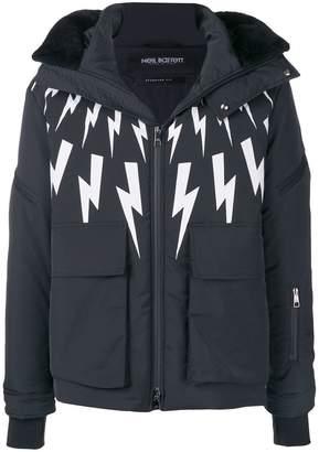 Neil Barrett lightning-bolt print hooded jacket