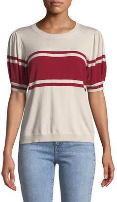 Joie Rolana Striped Short-Sleeve Sweater
