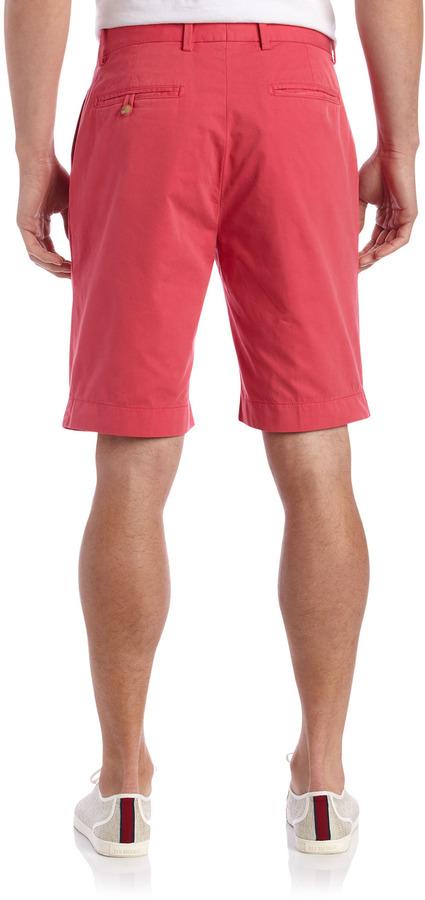 Bobby Jones Flat-Front Cotton Shorts, Hibiscus