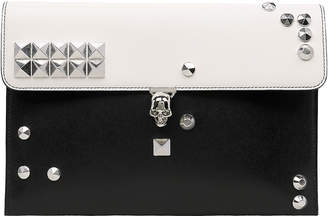 Alexander McQueen Skull Two-Tone Envelope Leather Clutch