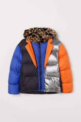 H&M Color-block Down Jacket - Silver