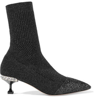 Glittered Metallic Ribbed-knit Sock Boots - Black