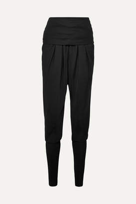 Tom Ford Ruched Jersey-paneled Twill Track Pants - Black
