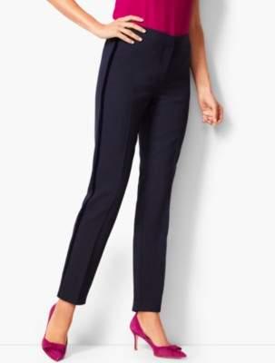 Talbots Velvet-Trim Bi-Stretch Wool Slim-Ankle Pants