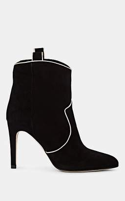 Barneys New York Women's Suede Western Ankle Boots - Black