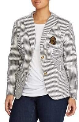 Lauren Ralph Lauren Plus Striped Monogram Blazer