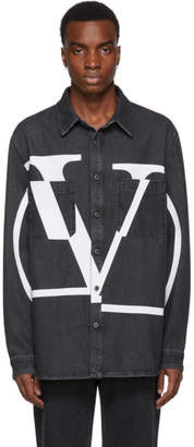 Valentino Black Denim Deconstructed VLogo Shirt