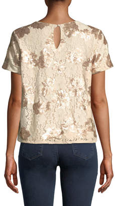 Neiman Marcus Short-Sleeve Sequined Lace Tee