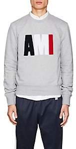 "Ami Alexandre Mattiussi Men's ""AMI"" Cotton French Terry Sweatshirt - Light Gray"