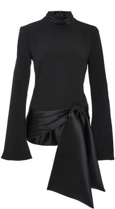 Brandon Maxwell Satin-Trimmed Bow-Detailed Crepe Top