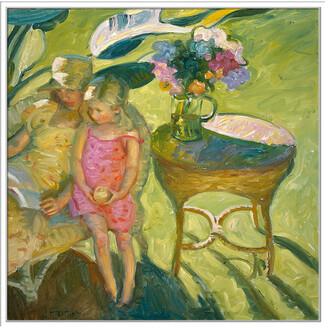 Jonathan Bass Studio Garden Floral, Decorative Framed Hand Embellished Canvas