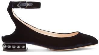 Nicholas Kirkwood Lola pearl-heeled velvet ballet flats